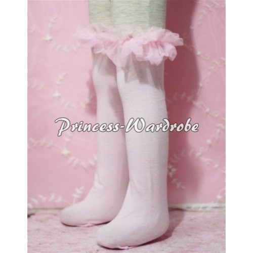 Light Pink Cotton Stocking with Light Pink Ruffles SK10