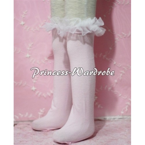 Light Pink Cotton Stocking with White Ruffles SK11