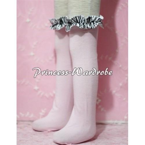 Light Pink Cotton Stocking with Zebra Ruffles SK12