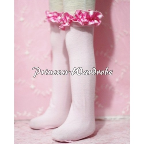 Light Pink Cotton Stocking with Hot Pink Dot Ruffles SK15