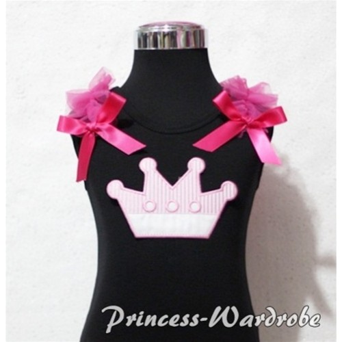 Pink Crown Black Tank Top with Hot Pink Ruffles and Hot Pink Bows TM153
