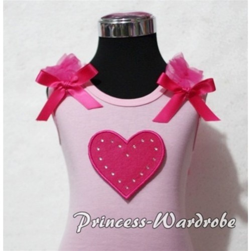 Hot Pink Sweet Heart Light Pink Tank Top with Hot Pink Ruffles and Hot Pink Bows TM158