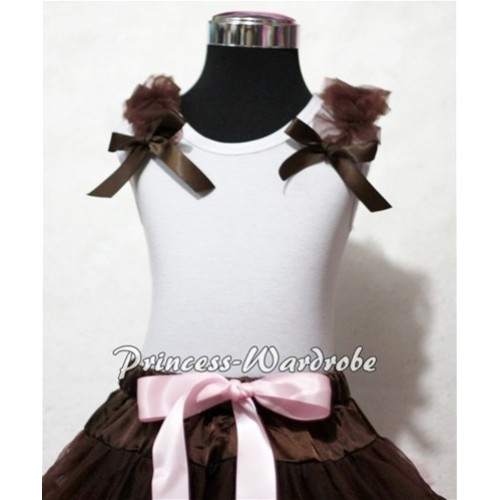 Light Pink Sweet Heart White Tank Top with Brown Ruffles and Brown Bows T323