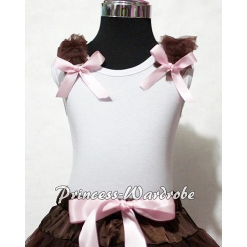 Brown Ruffles Light Pink Bow White Tank Top T324
