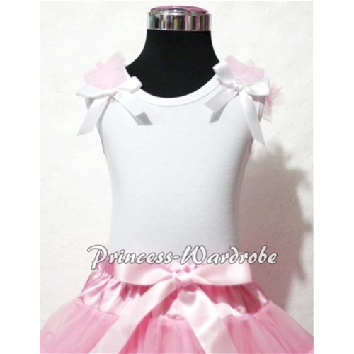 Light Pink Ruffles White Bow White Tank Top T325