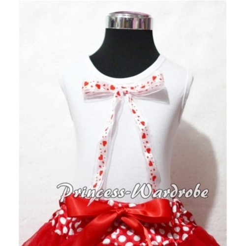 White Pettitop with Cute Sweet Heart Big Bow TM126