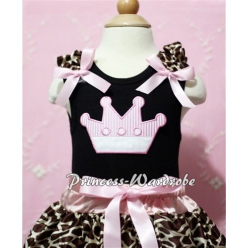 Black  Baby Tank Top & Light Pink Crown & Giraffe Ruffles &Light Pink Bow NT108