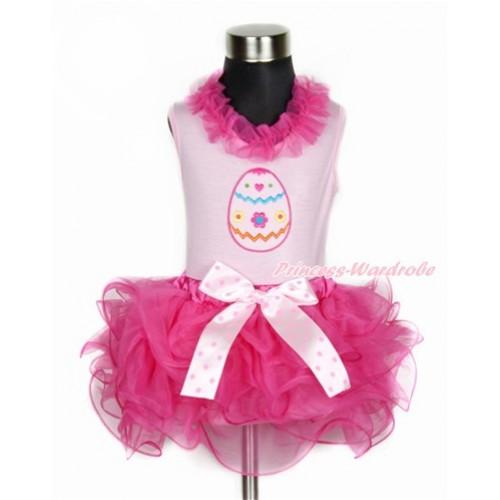 Easter Light Pink Tank Top With Hot Pink Chiffon Lacing With Easter Egg Print With Light Hot Pink Dots Bow Hot Pink Petal Pettiskirt M559