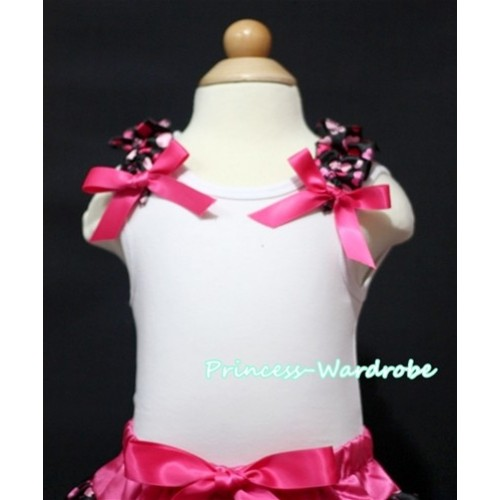 Hot Pink Heart Ruffles Hot Pink Bow White Tank Top
