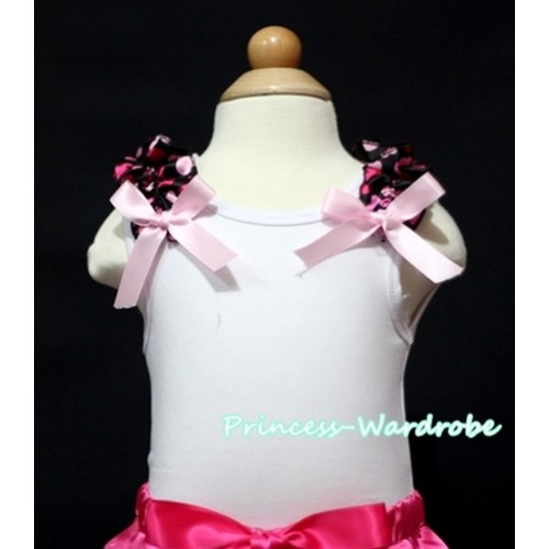 Hot Pink Heart Ruffles Light Pink Bow White Tank Top
