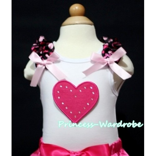 Hot Pink Sweet Heart White Tank Top with Hot Pink Heart Ruffles and Light Pink Bow TM168