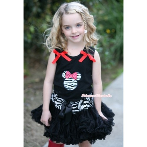 Black Tank Top with Zebra Minnie Print with Red Bow & Zebra Waist Black Pettiskirt MW192
