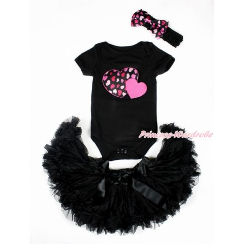 Valentine's Day Black Baby Jumpsuit with Hot Pink Sweet Twin Heart Print with Black Newborn Pettiskirt With Black Headband Hot Light Pink Heart Satin Bow JN16