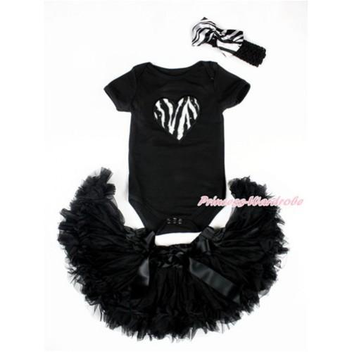 Valentine's Day Black Baby Jumpsuit with Zebra Heart Print with Black Newborn Pettiskirt With Black Headband Zebra Satin Bow JN17