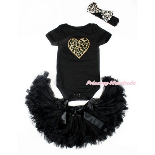 Valentine's Day Black Baby Jumpsuit with Leopard Heart Print with Black Newborn Pettiskirt With Black Headband Leopard Satin Bow JN18