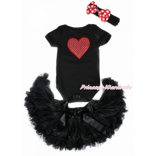 Valentine's Day Black Baby Jumpsuit with Sparkle Red Heart Print with Black Newborn Pettiskirt With Black Headband Minnie Dots Satin Bow JN22