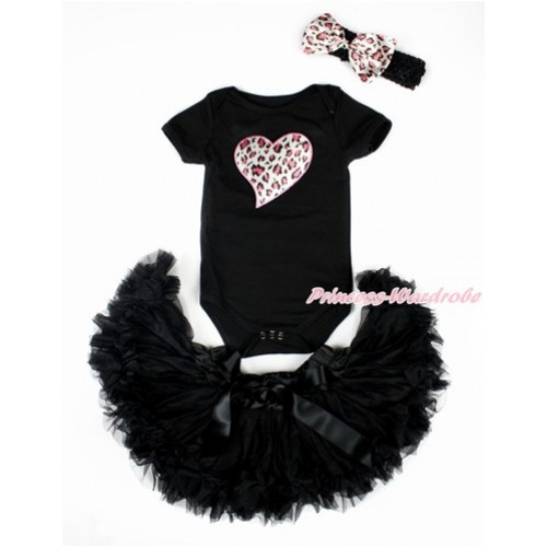 Valentine's Day Black Baby Jumpsuit with Light Pink Leopard Heart Print with Black Newborn Pettiskirt With Black Headband Light Pink Leopard Satin Bow JN24