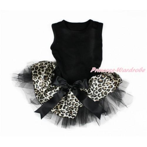 Black Sleeveless Leopard Black Gauze Skirt With Black Bow Pet Dress DC073