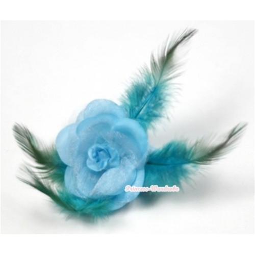 Light Blue Rosettes Feather Hair Clip H560