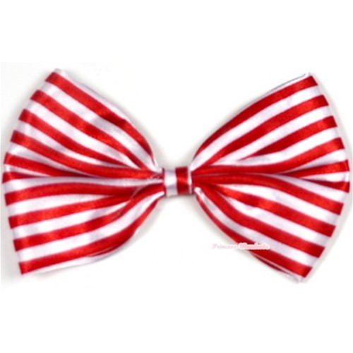 Red White Striped Satin Bow Hair Clip H561