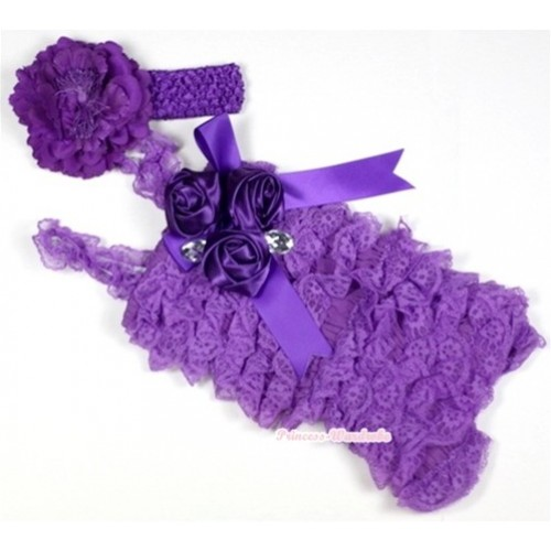 Dark Purple Lace Ruffles Petti Rompers With Straps With Big Bow & Bunch Of Dark Purple Satin Rosettes& Crystal,With Dark Purple Headband Dark Purple Peony RH102