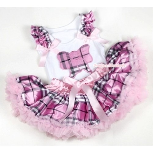 White Baby Pettitop with Light Pink Checked Butterfly Print with Light Pink Checked Ruffles & Light Pink Bow with Light Pink Checked Newborn Pettiskirt NN46