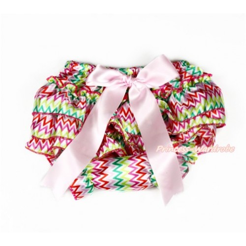 Easter Rainbow Wave Satin Layer Panties Bloomers With Light Pink Bow BC192