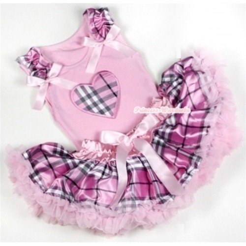 Light Pink Baby Pettitop with Light Pink Checked Heart Print with Light Pink Checked Ruffles & Light Pink Bow with Light Pink Checked Newborn Pettiskirt BG050