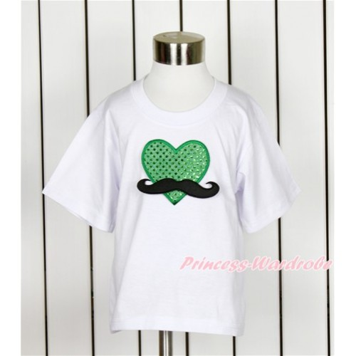 White Short Sleeves Top with Mustache Sparkle Kelly Green Heart Print TS20