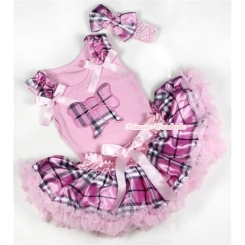 Light Pink Baby Pettitop with Light Pink Checked Butterfly Print with Light Pink Checked Ruffles & Light Pink Bows & Light Pink Checked Newborn Pettiskirt With Light Pink Headband Light Pink Checked Satin Bow BG055