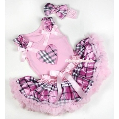 Light Pink Baby Pettitop with Light Pink Checked Heart Print with Light Pink Checked Ruffles & Light Pink Bows & Light Pink Checked Newborn Pettiskirt With Light Pink Headband Light Pink Checked Satin Bow BG056