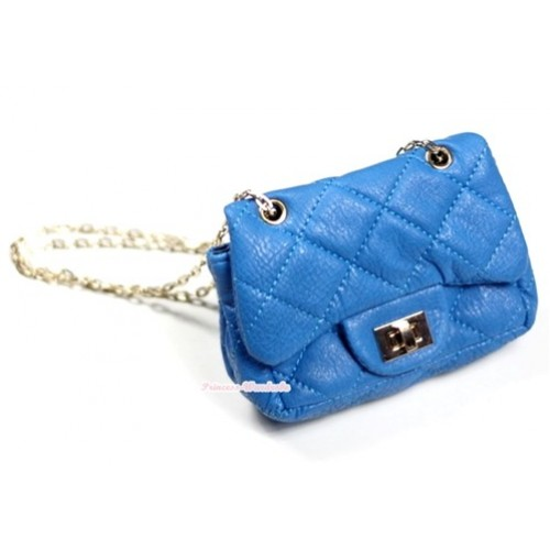 Gold Chain Peacock Blue Checked Little Cute Petti Shoulder Bag CB32
