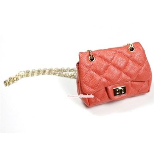 Gold Chain Orange Checked Little Cute Petti Shoulder Bag CB12