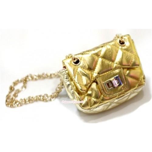 Gold Chain Shiny Gold Checked Little Cute Petti Shoulder Bag CB29