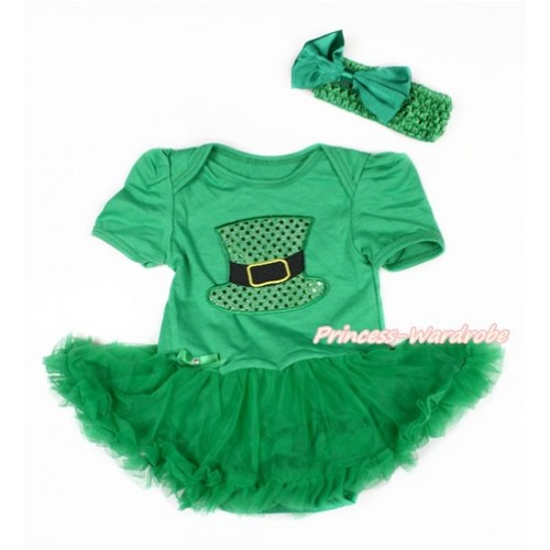 Kelly Green Baby Bodysuit Jumpsuit Kelly Green Pettiskirt With Sparkle Kelly Green Hat Print With Kelly Green Headband Kelly Green Satin Bow JS3039