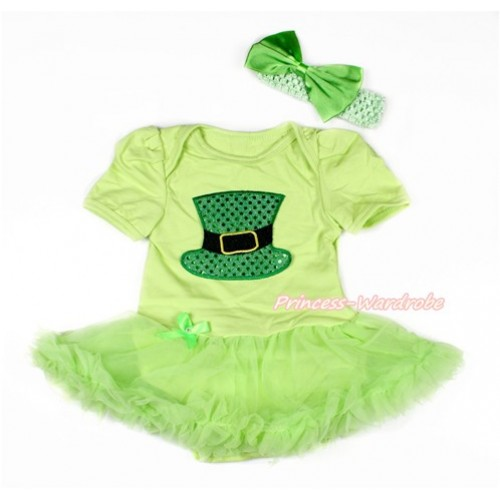 Light Green Baby Bodysuit Jumpsuit Light Green Pettiskirt With Sparkle Kelly Green Hat Print With Light Green Headband Light Green Satin Bow JS3048