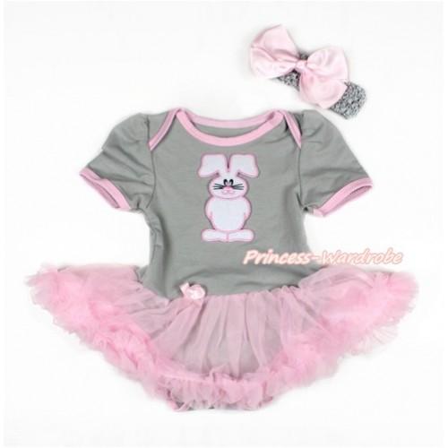 Easter Grey Baby Bodysuit Jumpsuit Light Pink Pettiskirt With Bunny Rabbit Print With Grey Headband Light Pink Silk Bow JS3101