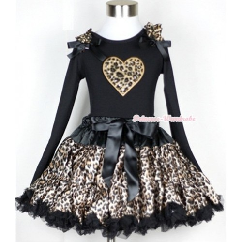 Black Leopard Pettiskirt with Leopard Heart Print Black Long Sleeve Top with Leopard Ruffles & Black Bow MW185-1