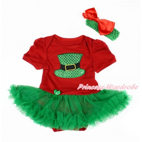 Red Baby Bodysuit Jumpsuit Kelly Green Pettiskirt With Sparkle Kelly Green Hat Print With Kelly Green Headband Red Silk Bow JS3127