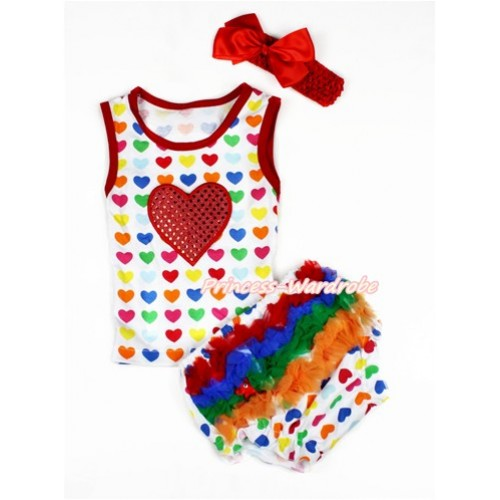 Valentine's Day Rainbow Heart Baby Pettitop & Sparkle Red Heart Print & White Rainbow Heart Bloomers with Red Headband Red Silk Bow LD239