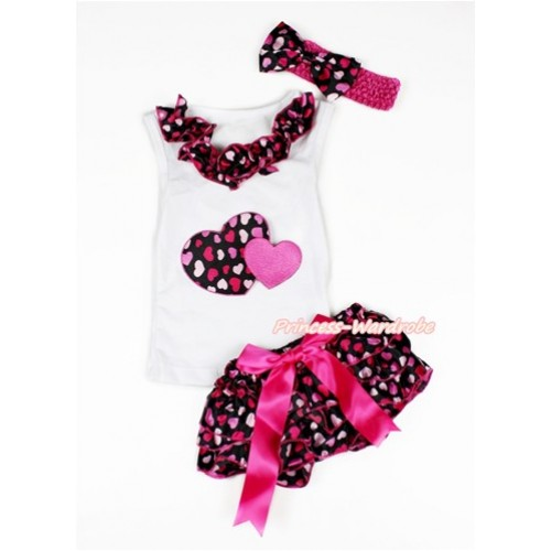 Valentine's Day White Baby Pettitop & Hot Light Pink Heart Satin Lacing & Hot Pink Sweet Twin Heart Print with Hot Pink Bow Hot Light Pink Heart Satin Bloomers with Hot Pink Headband Hot Light Pink Heart Satin Bow LD246