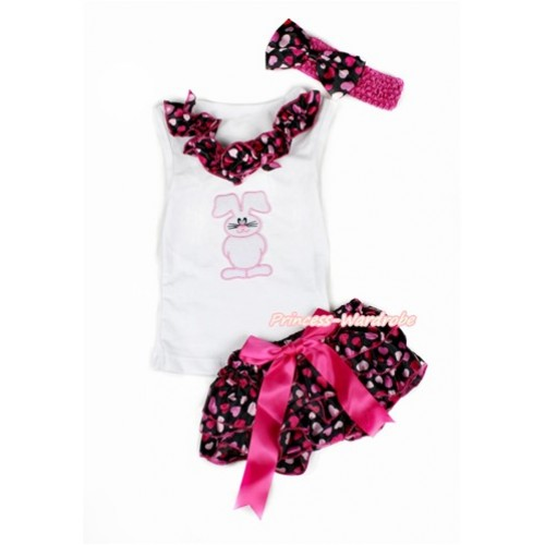 Easter White Baby Pettitop & Hot Light Pink Heart Satin Lacing & Bunny Rabbit Print with Hot Pink Bow Hot Light Pink Heart Satin Bloomers with Hot Pink Headband Hot Light Pink Heart Satin Bow LD249