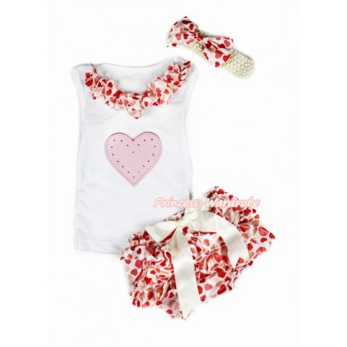 Valentine's Day White Baby Pettitop & Cream White Heart Satin Lacing & Light Pink Heart Print with Cream White Bow Cream White Heart Satin Bloomers with Cream White Headband Cream White Heart Satin Bow LD250