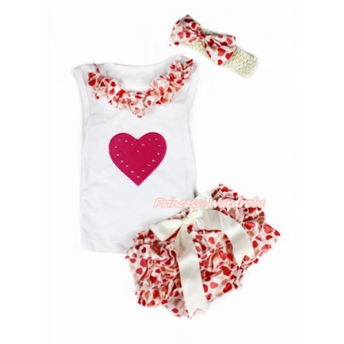 Valentine's Day White Baby Pettitop & Cream White Heart Satin Lacing & Red Heart Print with Cream White Bow Cream White Heart Satin Bloomers with Cream White Headband Cream White Heart Satin Bow LD251