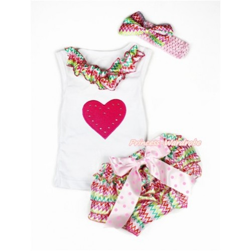 Valentine's Day White Baby Pettitop & Rainbow Wave Satin Lacing & Hot Pink Heart Print with Light Hot Pink Dots Bow Rainbow Wave Satin Bloomers with Light Pink Headband Rainbow Wave Satin Bow LD257