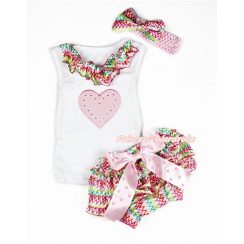 Valentine's Day White Baby Pettitop & Rainbow Wave Satin Lacing & Light Pink Heart Print with Light Hot Pink Dots Bow Rainbow Wave Satin Bloomers with Light Pink Headband Rainbow Wave Satin Bow LD258
