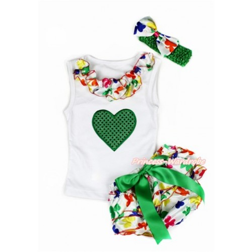 Valentine's Day White Baby Pettitop & Rainbow Clover Satin Lacing & Sparkle Kelly Green Heart Print with Kelly Green Bow Rainbow Clover Satin Bloomers with Kelly Green Headband Rainbow Clover Satin Bow LD262
