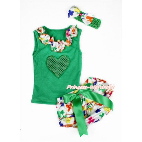 Valentine's Day Kelly Green Baby Pettitop & Rainbow Clover Satin Lacing & Sparkle Kelly Green Heart Print with Kelly Green Bow Rainbow Clover Satin Bloomers with Kelly Green Headband Rainbow Clover Satin Bow LD267