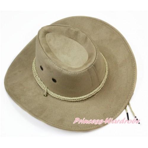 Cream White Beige Leather Western Cowboy Rope Wide Brim Hat H780
