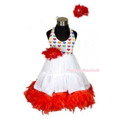 Xmas White Rainbow Heart ONE-PIECE Petti Dress with Red Posh Feather & Red Feather Crystal Rose Bow With Accessory 2PC Set LP38
